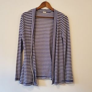 J CREW open cardigan blue and white striped m